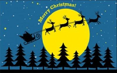 Santa Moonlight Sleigh Ride Flag 150 x 90cms